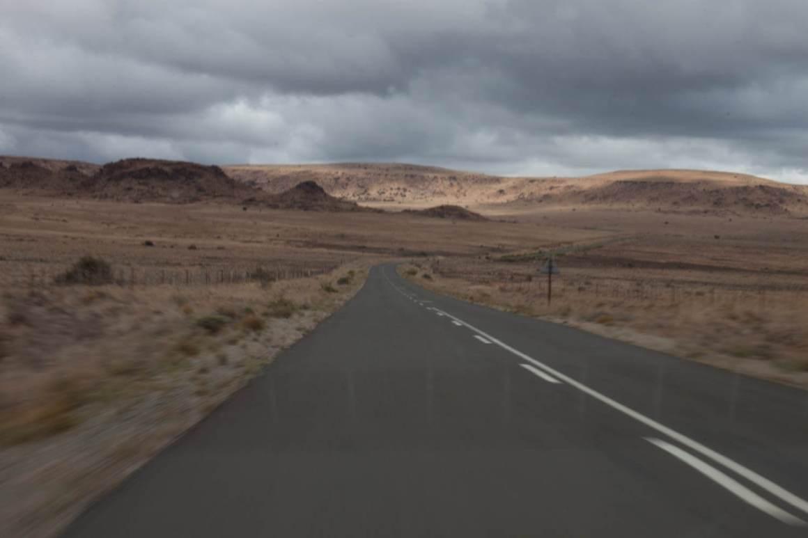 Moon-like Karoo landscape and road
