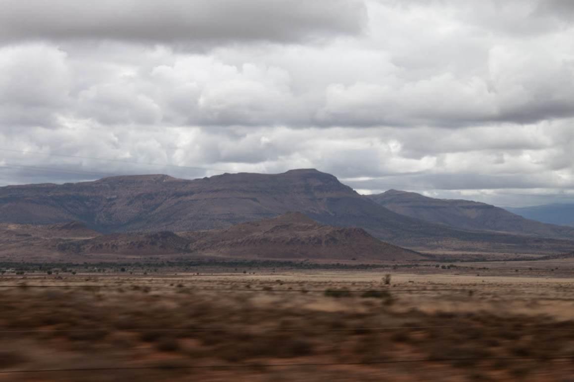 Desert mountains on the horizon