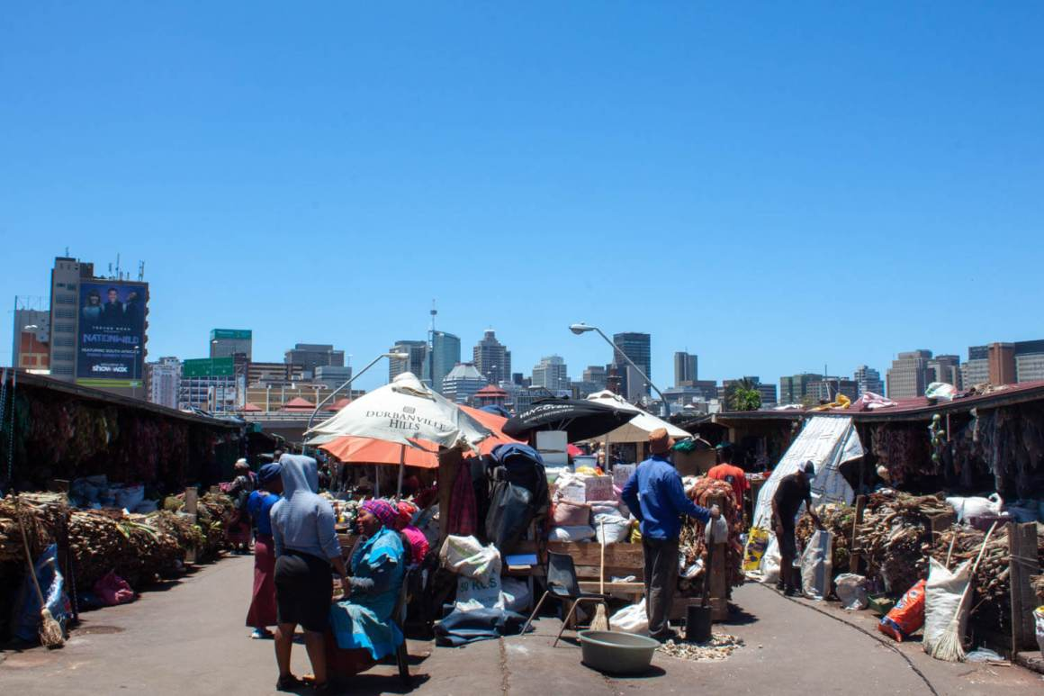 One day in Durban cover image of Warwick Market with downtown in background