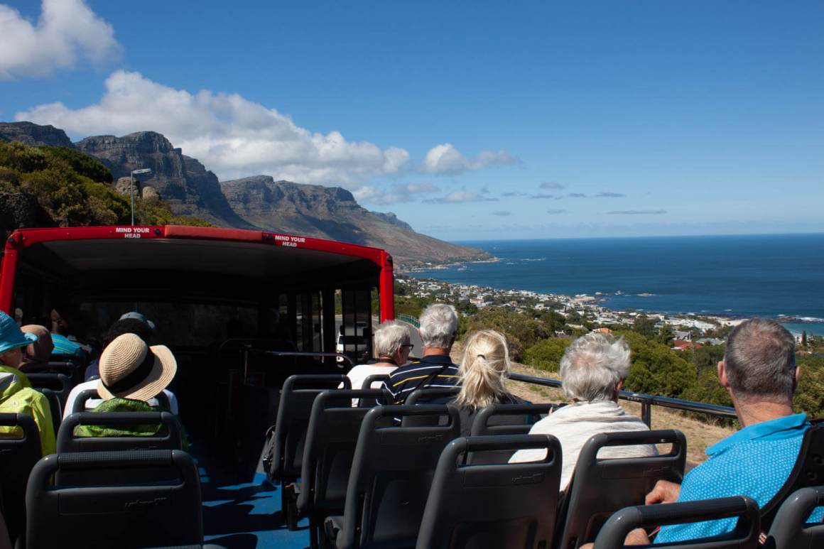 View from the top of hop-on hop-of bus going down to Camps Bay