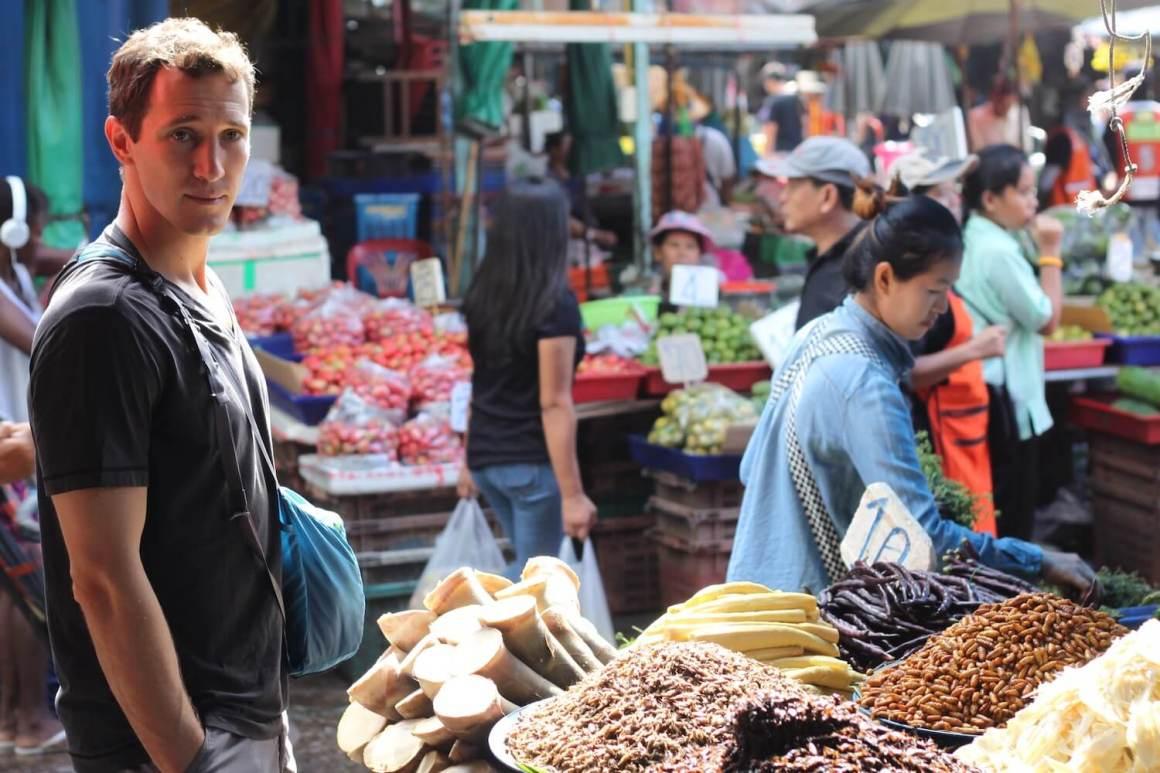 Chris at a Bangkok market in Thailand