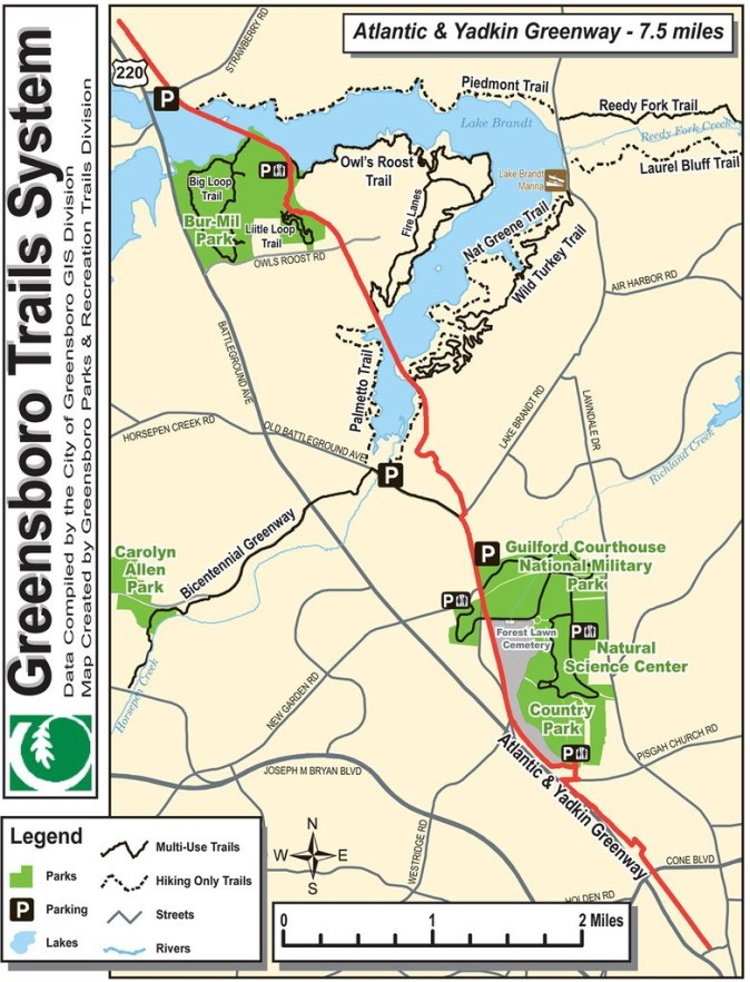 Map of Greensboro Trail System