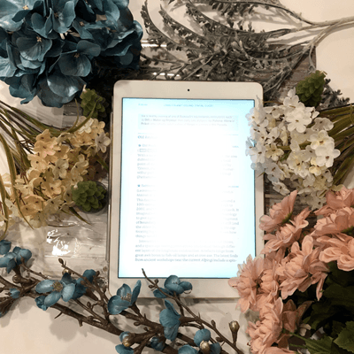 Photoshop Tutorial For Book Bloggers eReader with flowers