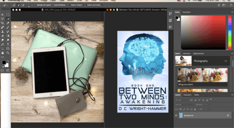 Screenshot of Adobe Photoshop with blank ereader bookstagram and book cover of Between Two Minds