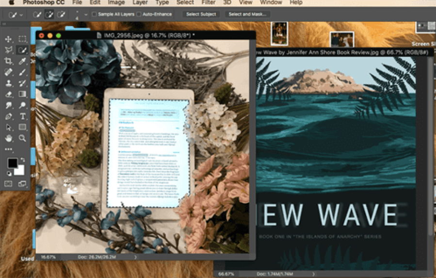 Screenshot of Adobe Photoshop with New Wave book cover and a bookstagram with ereader and text