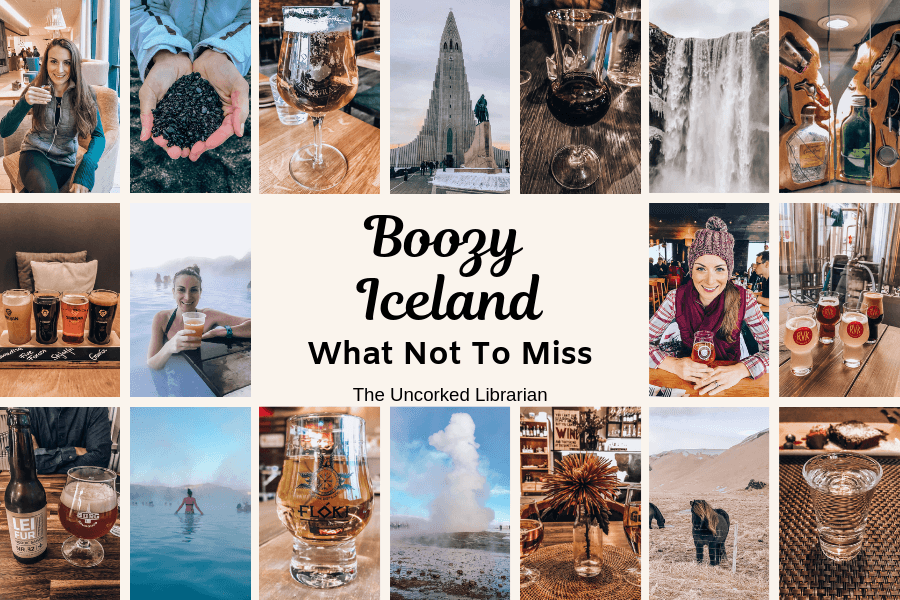 Boozy Iceland pin cover with alcoholic Icelandic drinks and famous Iceland sites