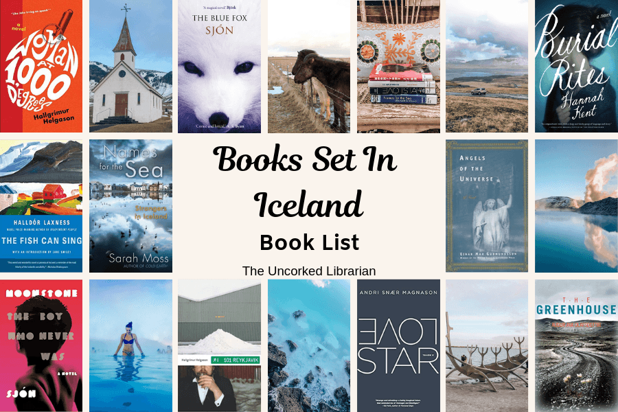 Books set in Iceland Pinterest pin with 10 icelandic novel covers and picture from Iceland