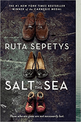 Books Set in Lithuania Salt to the Sea by Ruta Sepetys Paperback cover with three pairs of shoes