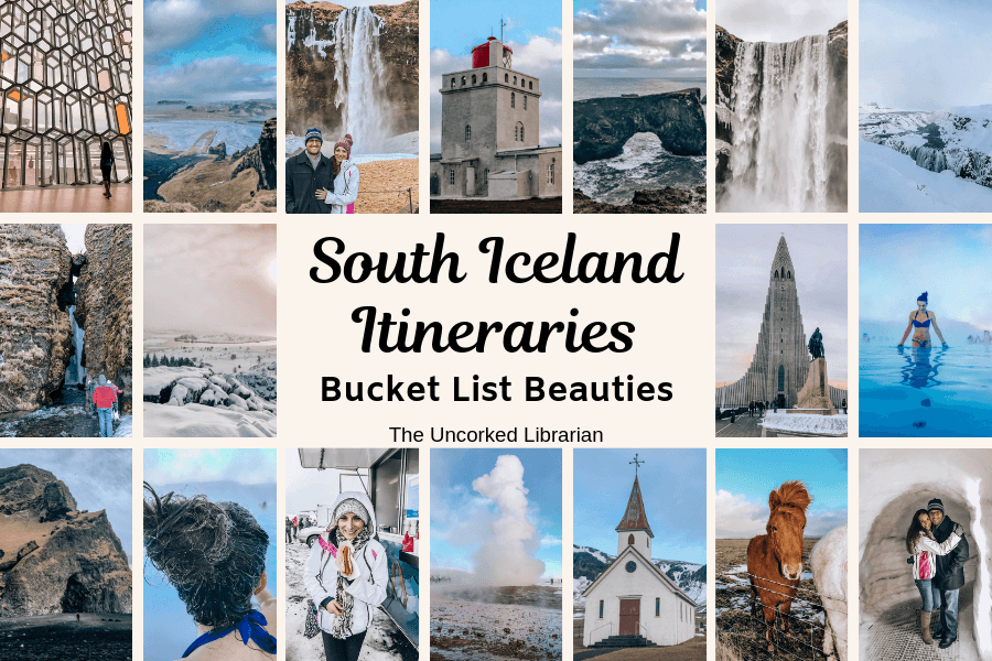 South Iceland Itineraries pin with Icelandic pictures of churches, waterfalls, and horses