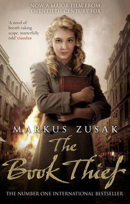 YA WWII Novel The Book Thief By Markus Zusak movie version book cover with blonde girl