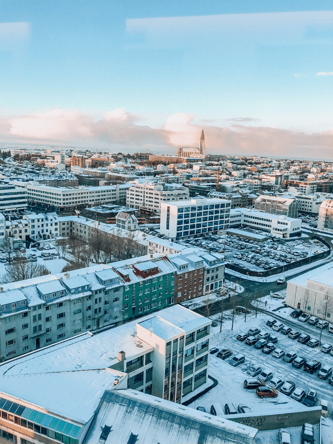 Window view from Fosshotel of the city of Reykjavik