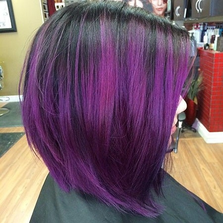 Amazing-Black-to-Violet-Ombre Ombre Hairstyles for Short Hair