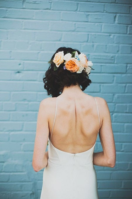 Amazing-Bob-with-Flowers Wedding Hairstyles for Short Hair