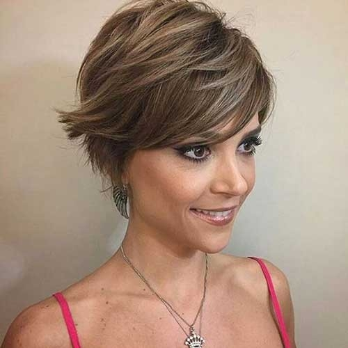 Ash-Brown-Pixie-Cut Splendid Layered Short Haircuts for Ladies