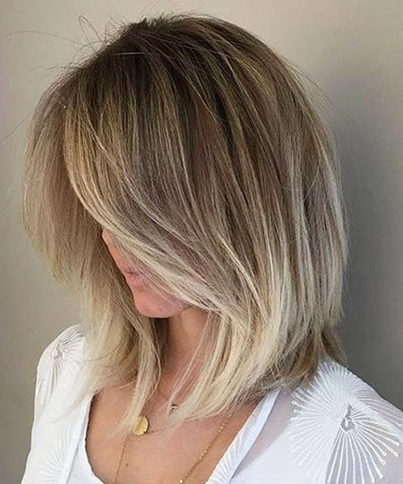 Blonde-Balayage-Hair-Color Short Trendy Hairstyles 2018