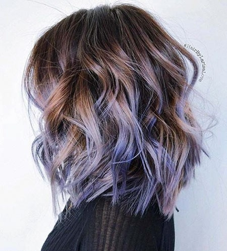 Blue-Highlights-in-Brown-Hair Balayage Ombre Short Hair