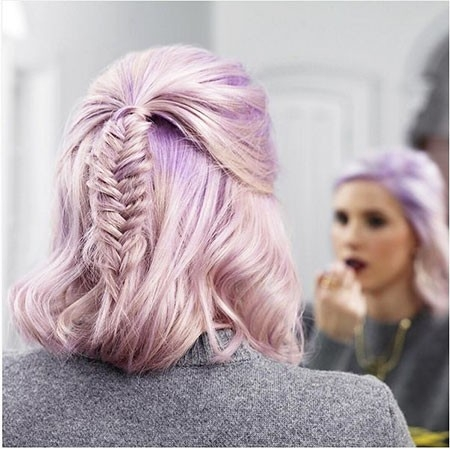 Braided-Hair-with-Violet-Highlights New Cute Hairstyles for Short Hair