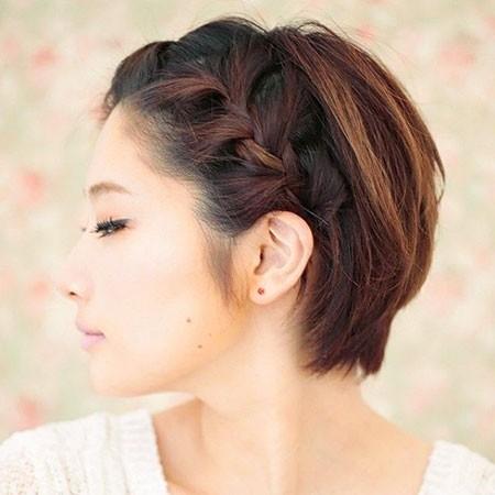 Brown-Hair-Color Easy Braids for Short Hair