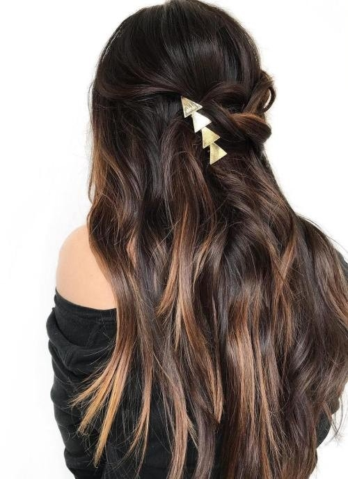 Brown-Sunkissed-Hair-in-a-Half-Updo Impressive Haircuts and Hairstyles for Long Dark Brown Hair