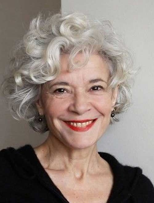 Curly-Short-Hairstyle-for-Older-Women-Over-50 Short Haircuts for Older Women 2018-2019