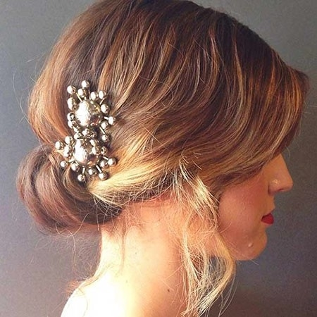 Cute-Updo-Hair-with-an-Accessory Wedding Hairstyles for Short Hair