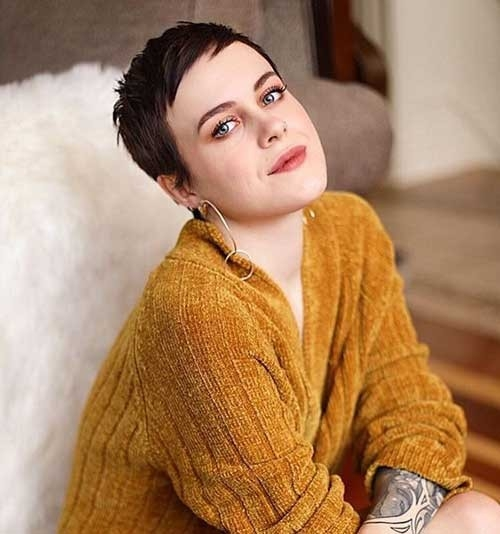 Dark-Brown-Super-Short-Hair Superb Short Pixie Haircuts for Women