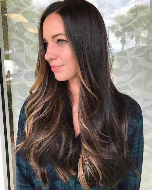 Long-Brown-Hair-with-Face-Framing-Balayage Impressive Haircuts and Hairstyles for Long Dark Brown Hair