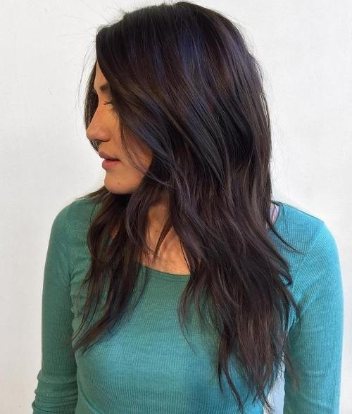 Long-Dark-Brown-Razorcut-with-Piecey-Layers Impressive Haircuts and Hairstyles for Long Dark Brown Hair