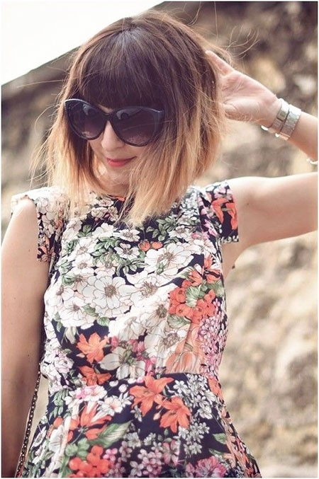 Ombre-Bob-with-Fringe Ombre Hairstyles for Short Hair