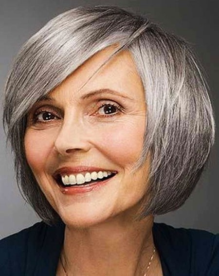 Round-Faces Short Bob Haircuts for Older Women