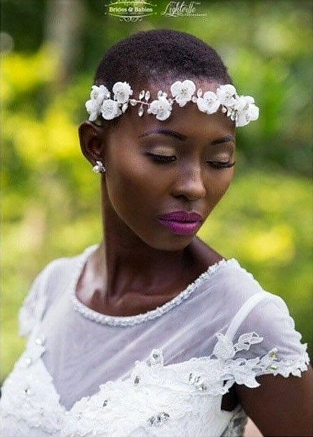 Short-Hair-with-Flower-Headband Wedding Hairstyles for Short Hair