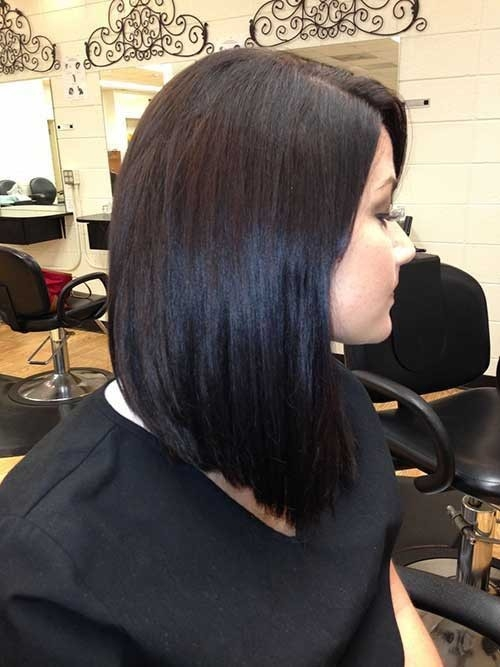 Side-Swept-Long-Inverted-Dark-Bob Inverted Bob Haircuts