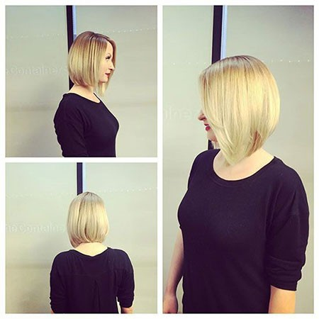 Angled-Blonde-Bob Short Hairstyles for Chubby Faces