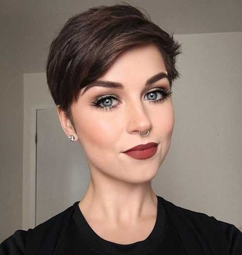 Brown-Hair-Pixie-Cut Best Pixie Haircuts for 2018