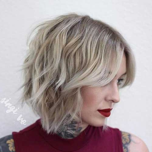 Choppy-Layered-Mid-Length-Bob-with-Fringe Best Short Haircuts You will Want to Try