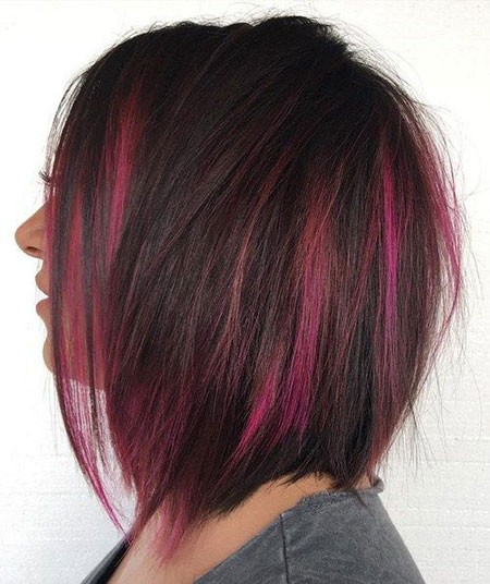 Dark-Pink-Highlights Best Short Hair Color Ideas