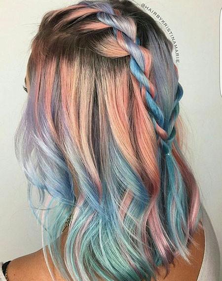 Multi-colored-Braided-Hair Best Short Blue Hair
