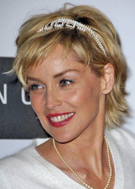 Short-Hair-with-Headband-1 New Sharon Stone Short Hairstyles