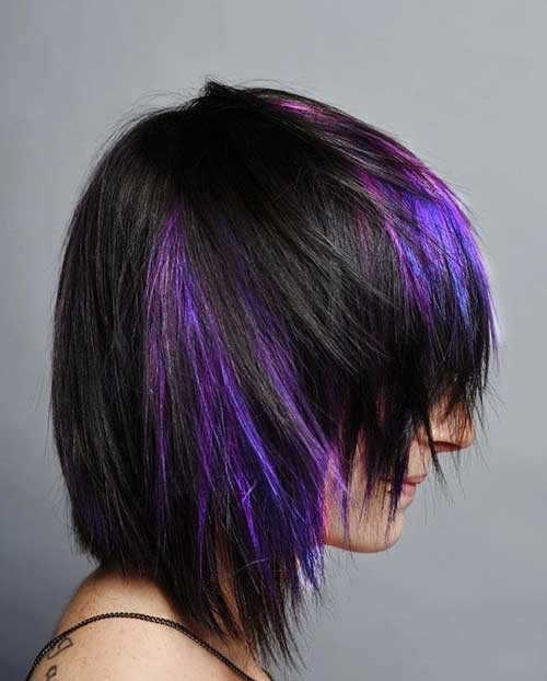 Short-Purple-Lighted-Shaggy-Hairstyle Short Shaggy Haircuts