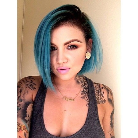 Straight-Angled-Bob Best Short Blue Hair