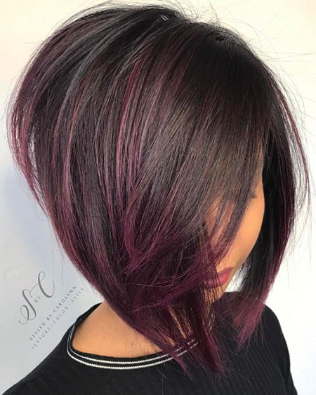 Angled-Purple-Bob New Short Hair with Color