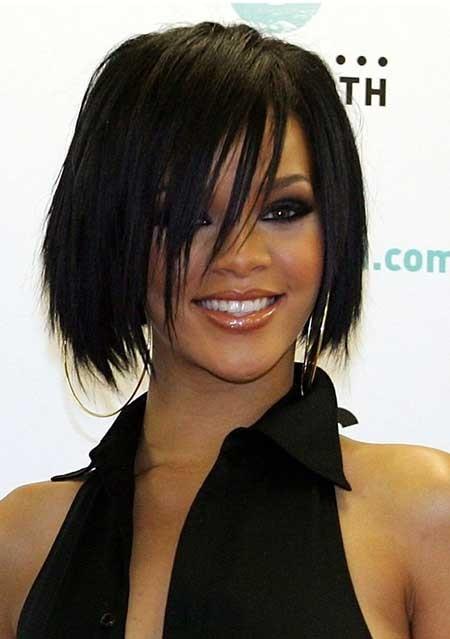 Dark-Straight-Filled-Bob Layered Bob Haircuts