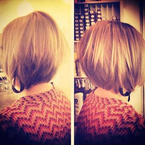 Short-Blonde-A-line-Stacked-Bob-Hairstyle Short Stacked Bob Hairstyles