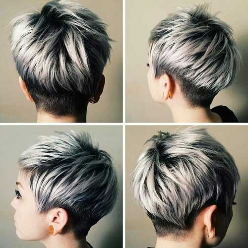 Silver-Highlights-with-Short-Pixie Best Short Pixie Cuts