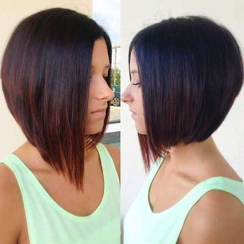 Straight-Bob-Haircut-with-Ombre-Color Short Stacked Bob Hairstyles