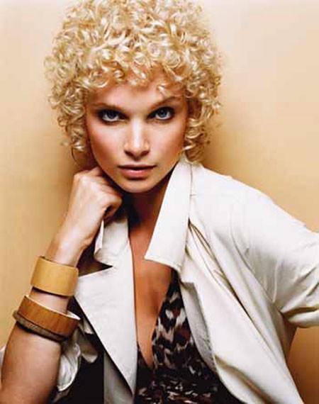 Tight-Curl-Perm Short Curly Blonde Hair Ideas