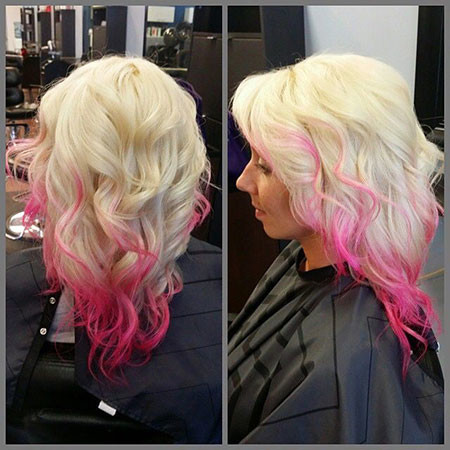 15-Blonde-Hair-with-Hot-Pink-Highlights-613 Blonde And Pink Ombre Hair