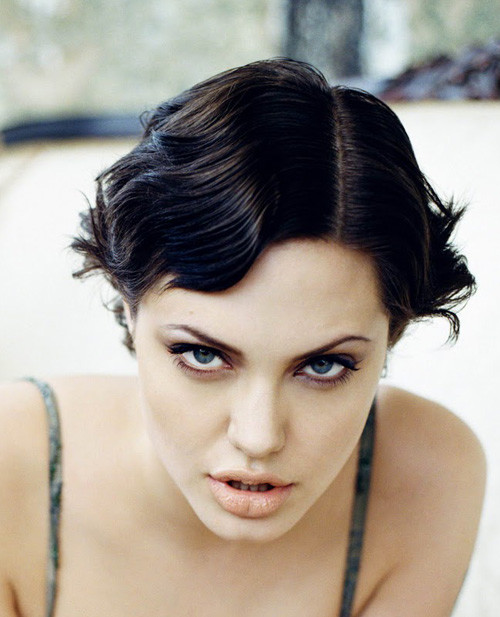 Angelina-Jolie-short-wavy-hairstyle Trendy Short Celebrity Hairstyles
