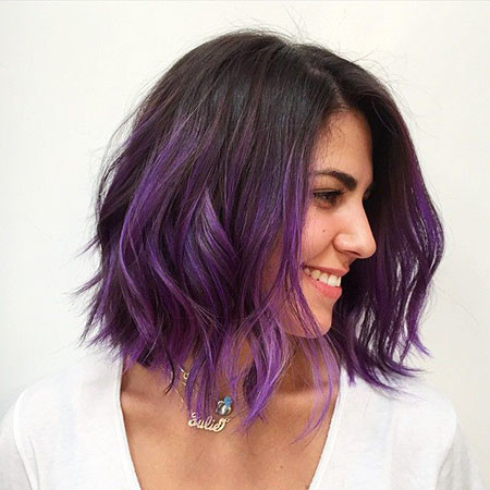 Beautiful-Purple-on-Dark-Mane Amazing Short Ombre Hairstyles