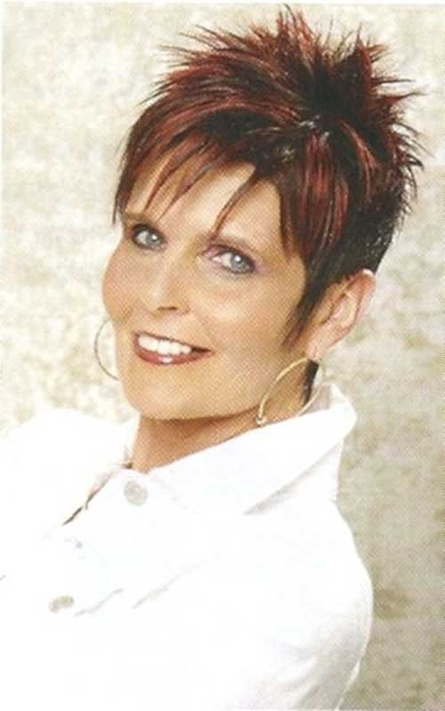 Dark-Red-Sassy-Short-Haircut-for-Women-Over-50 Spiky Short Haircuts